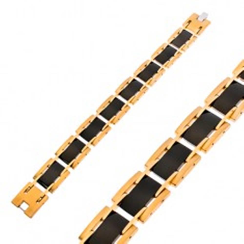Šperky eshop Náramok z chirurgickej ocele, obdĺžnikové dieliky, čierna a zlatá farba