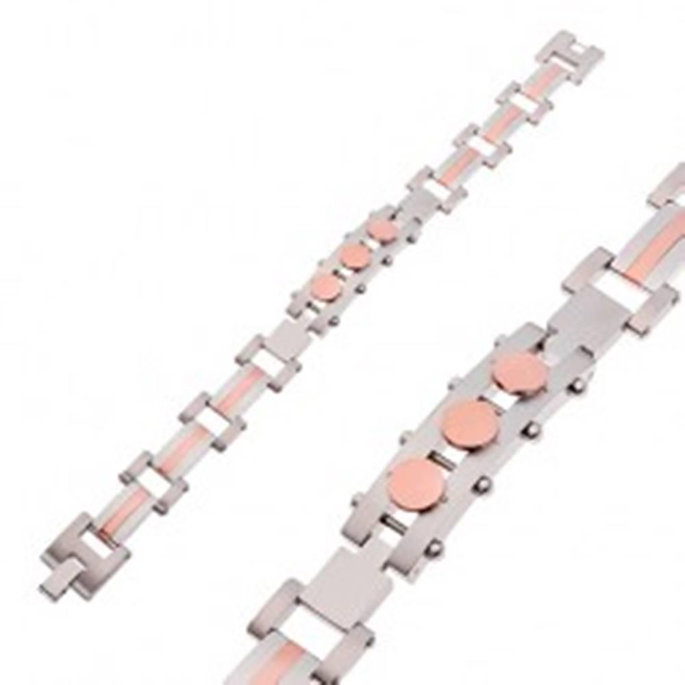 Šperky eshop Náramok z chirurgickej ocele, známka s kruhmi, strieborná a medená farba