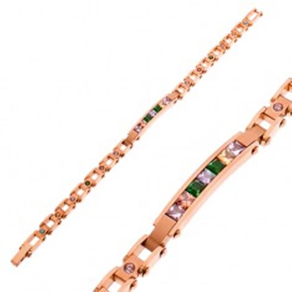 Šperky eshop Náramok z ocele 316L medenej farby, úzka známka a farebné zirkóny