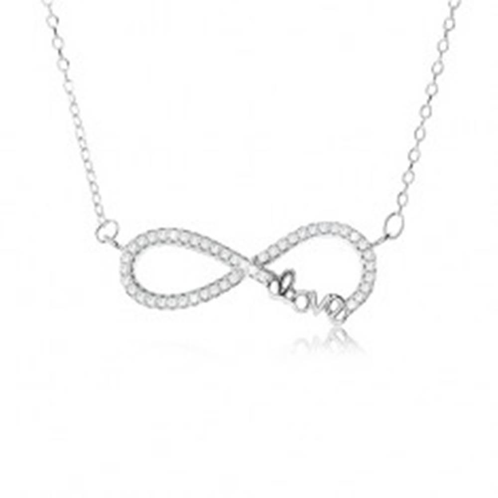 """Šperky eshop Nastaviteľný náhrdelník - striebro 925, prívesok znak nekonečna s kamienkami, nápis """"Love"""""""
