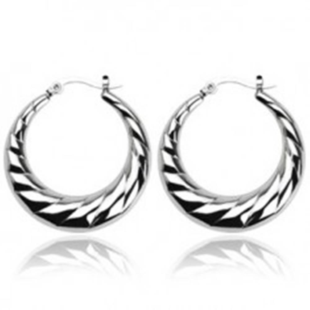 Šperky eshop Náušnice z ocele - vrúbkované kruhy
