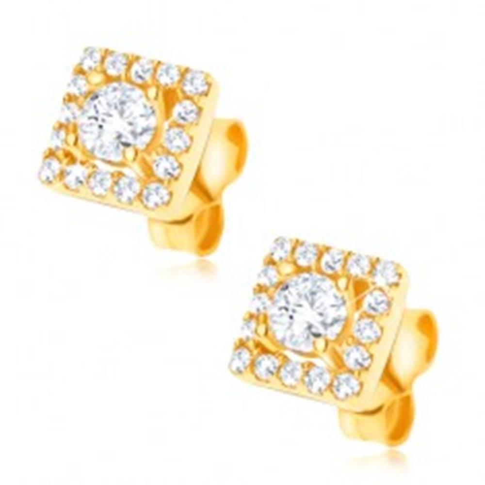 Šperky eshop Náušnice zo zlata 585 - štvorec vykladaný čírymi zirkónikmi, 6 mm
