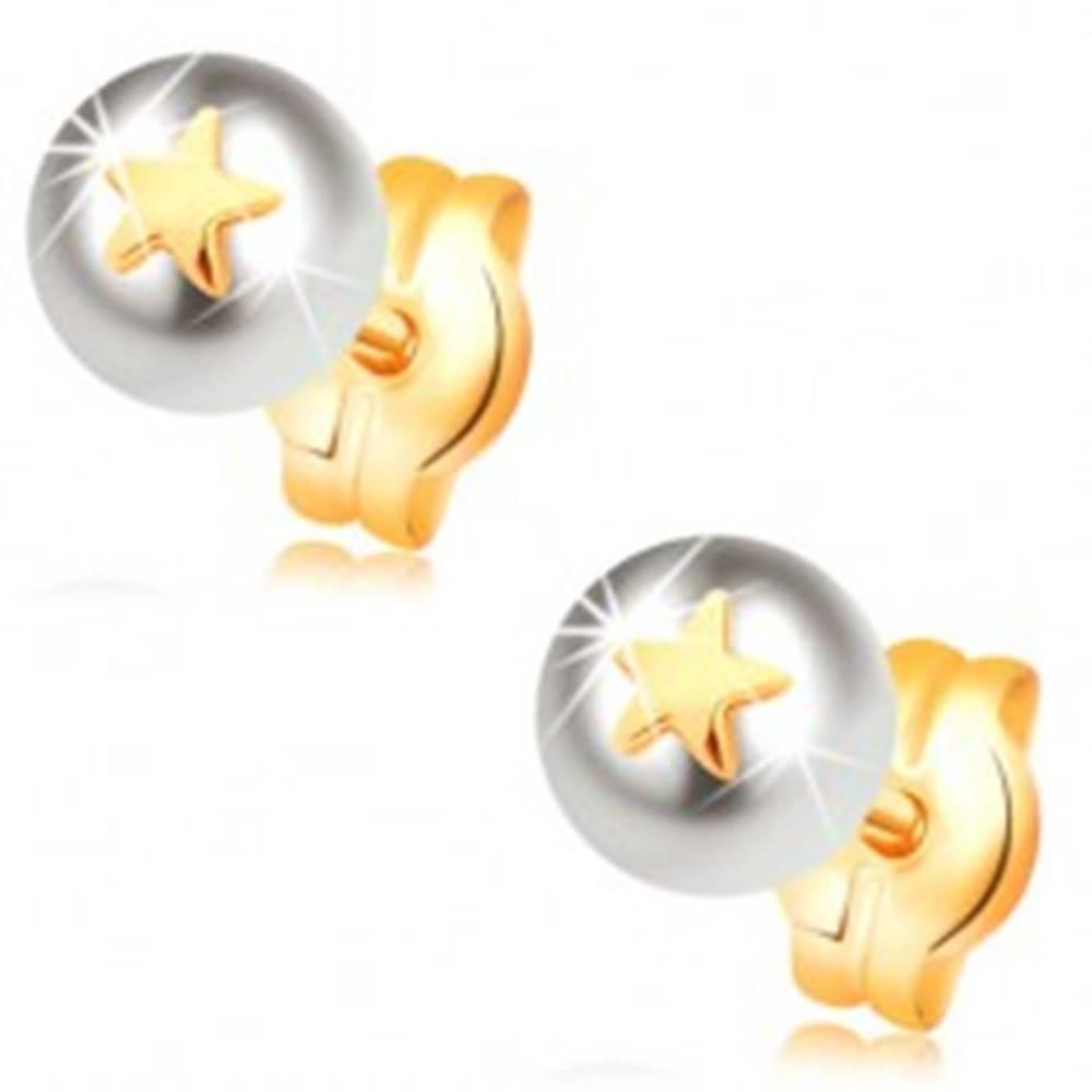 Šperky eshop Náušnice zo žltého 14K zlata -  biela perla s malou lesklou hviezdičkou
