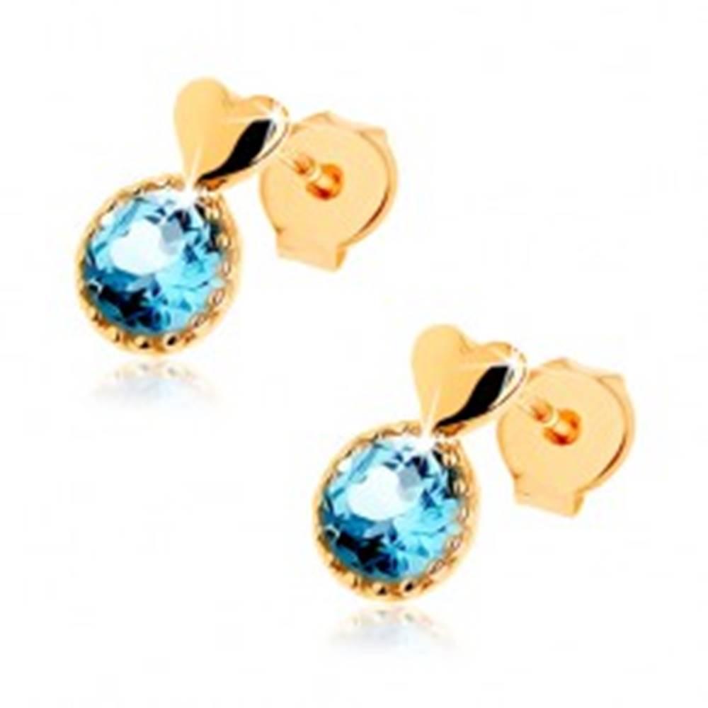 Šperky eshop Náušnice zo žltého 9K zlata - hladké vypuklé srdiečko, okrúhly modrý topás