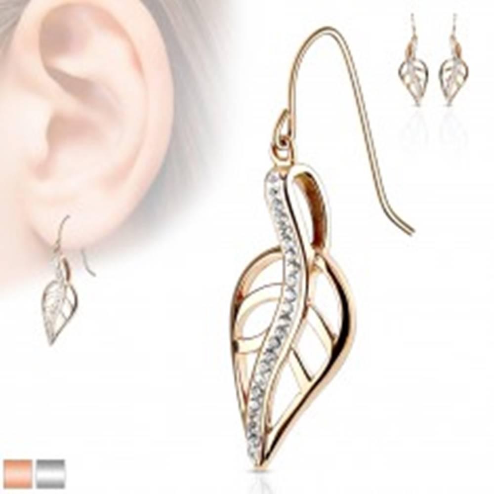 Šperky eshop Oceľové náušnice, vyrezávaný list so zvlnenou líniou z čírych zirkónov, háčiky - Farba: Medená