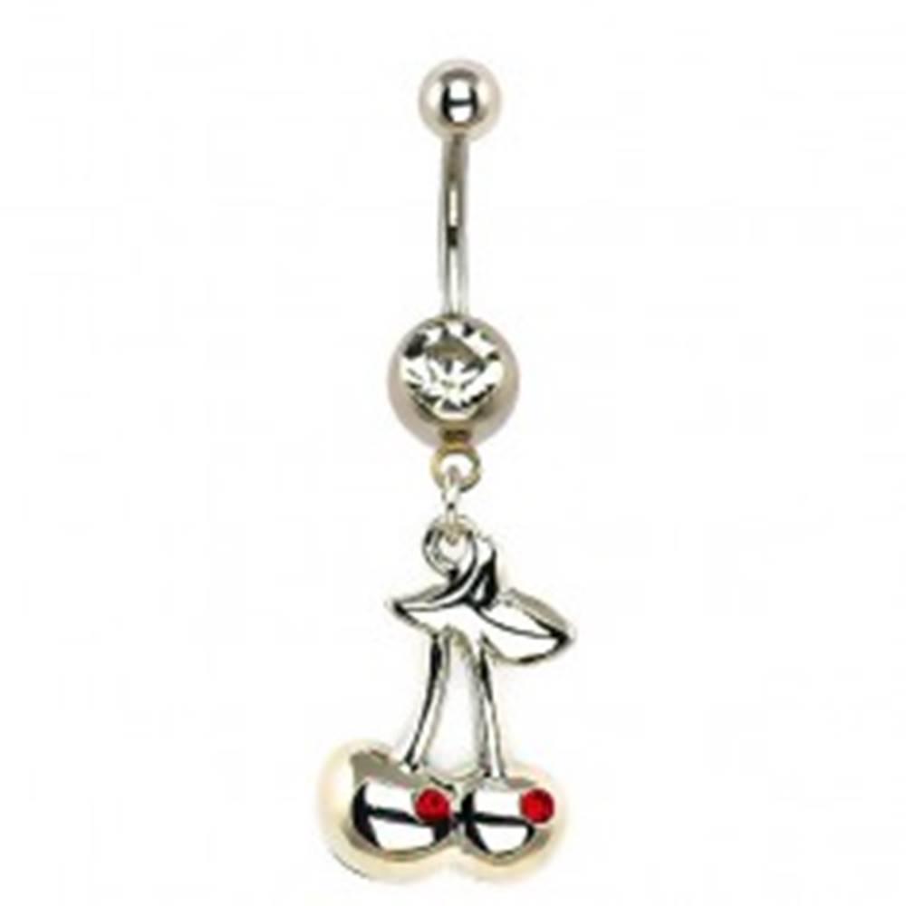 Šperky eshop Oceľový piercing do brucha - strieborné čerešne, zirkóny