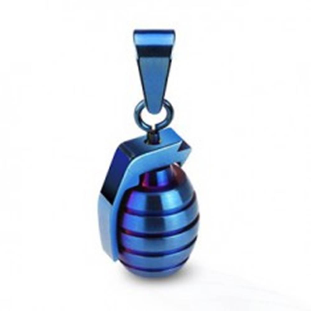 Šperky eshop Oceľový prívesok - jednofarebný granát - Farba: Čierna