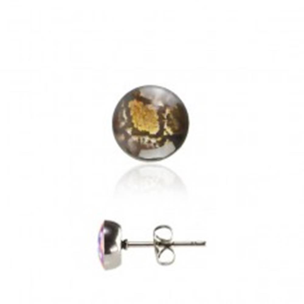 Šperky eshop Okrúhle oceľové náušnice - hadí vzor, puzetové zapínanie
