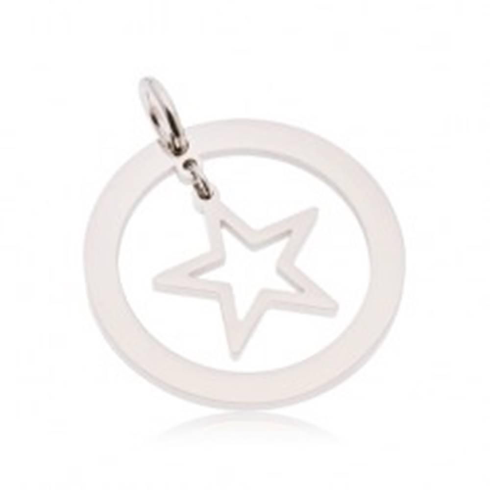 Šperky eshop Okrúhly prívesok z ocele 316L striebornej farby, obruč s hviezdou