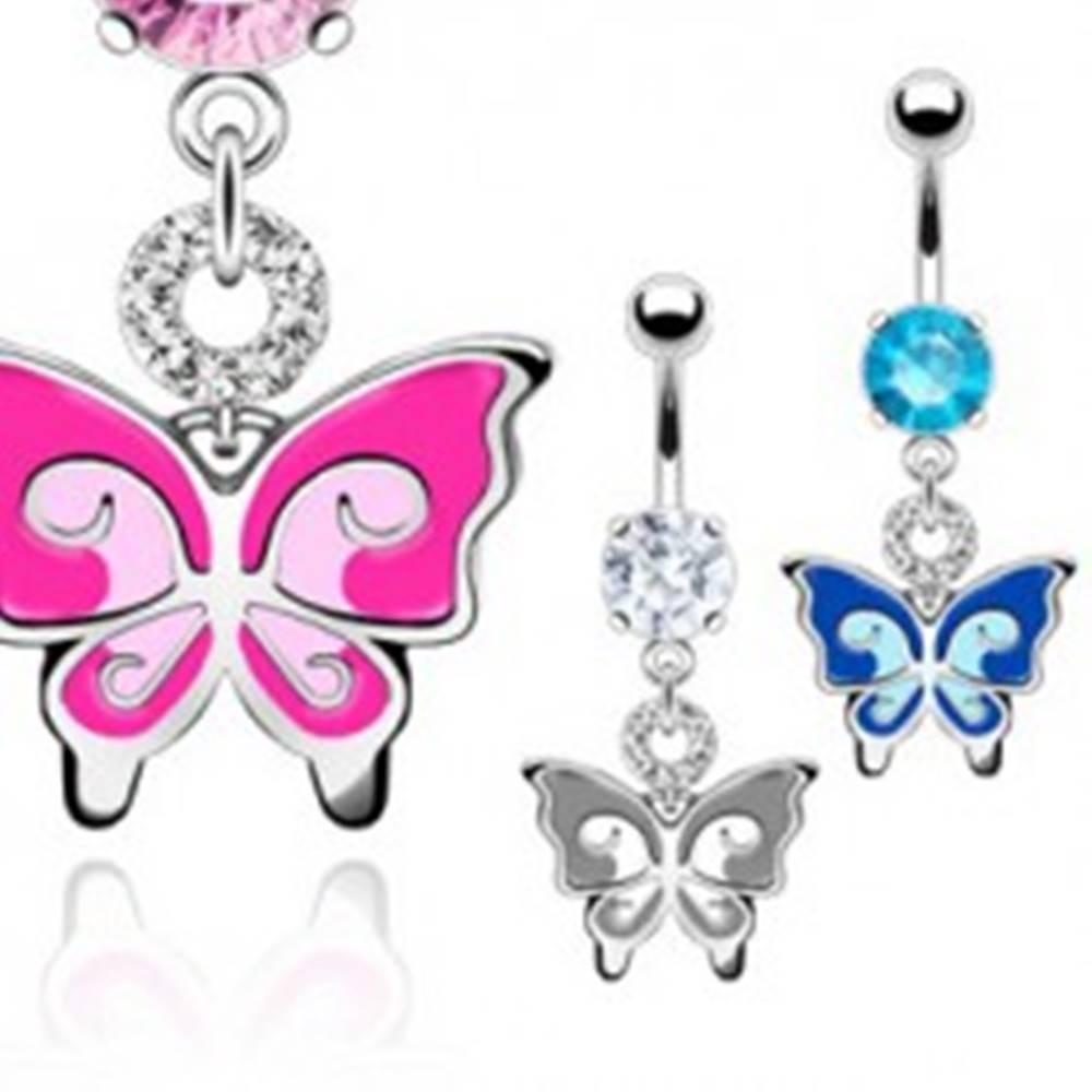 Šperky eshop Piercing do brucha - dvojfarebný motýľ, zirkóny - Farba: Aqua modrá