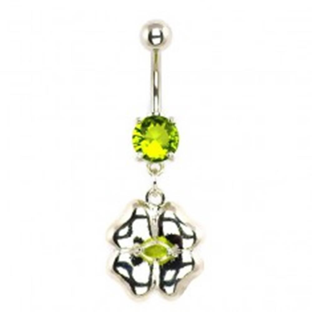 Šperky eshop Piercing do brucha -  štvorlístok striebornej farby, vsadený zirkón