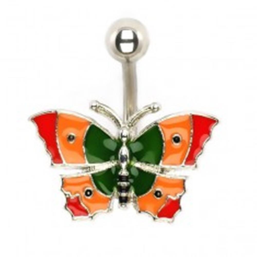 Šperky eshop Piercing do bruška - pestrofarebný motýľ