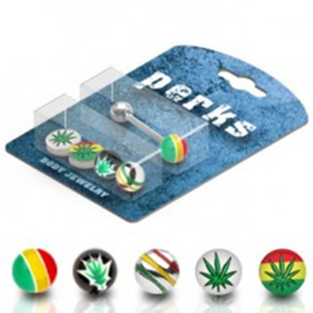 Šperky eshop Piercing do jazyka sada - marihuana, Jamajka