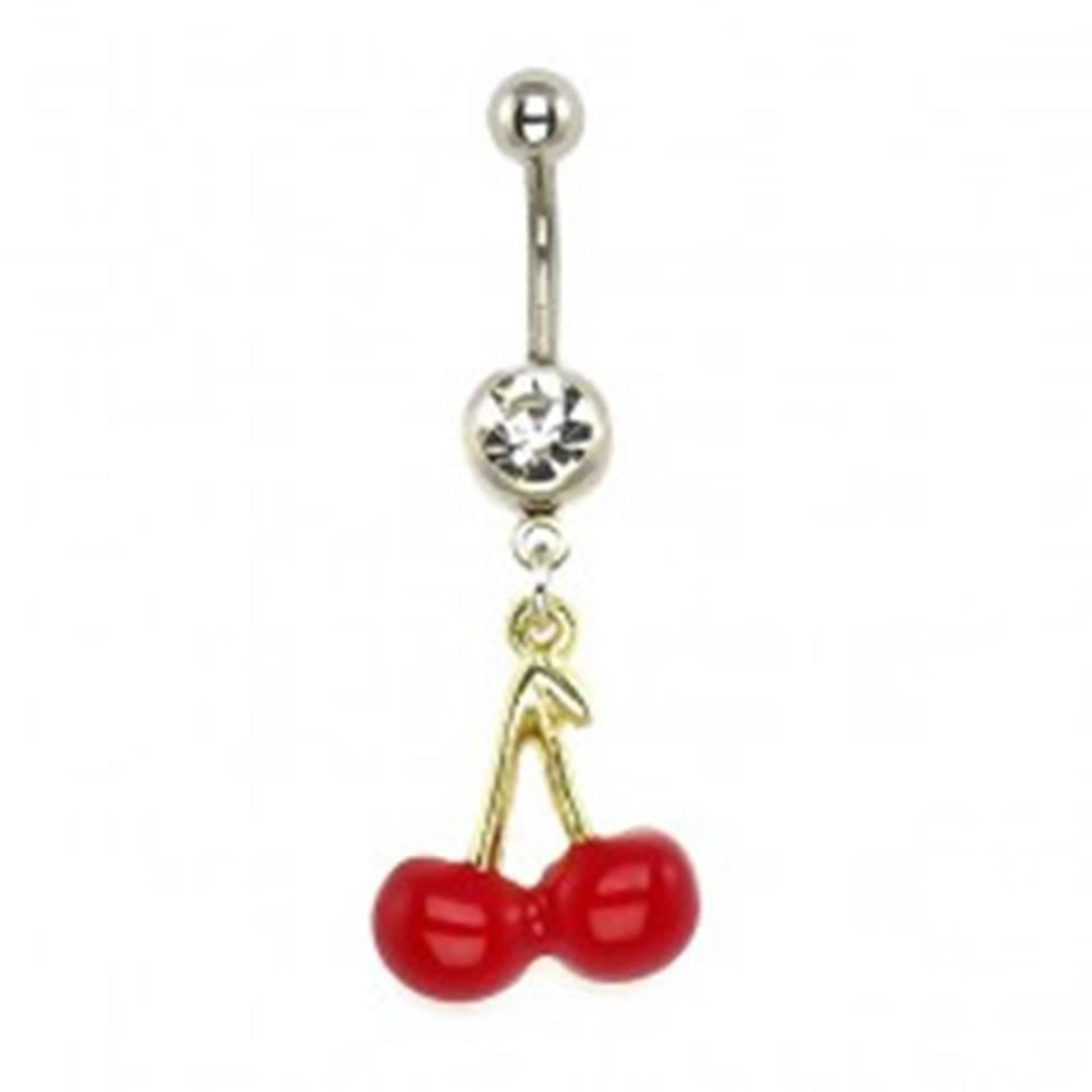Šperky eshop Piercing do pupka - červené čerešne, stopky zlatej farby