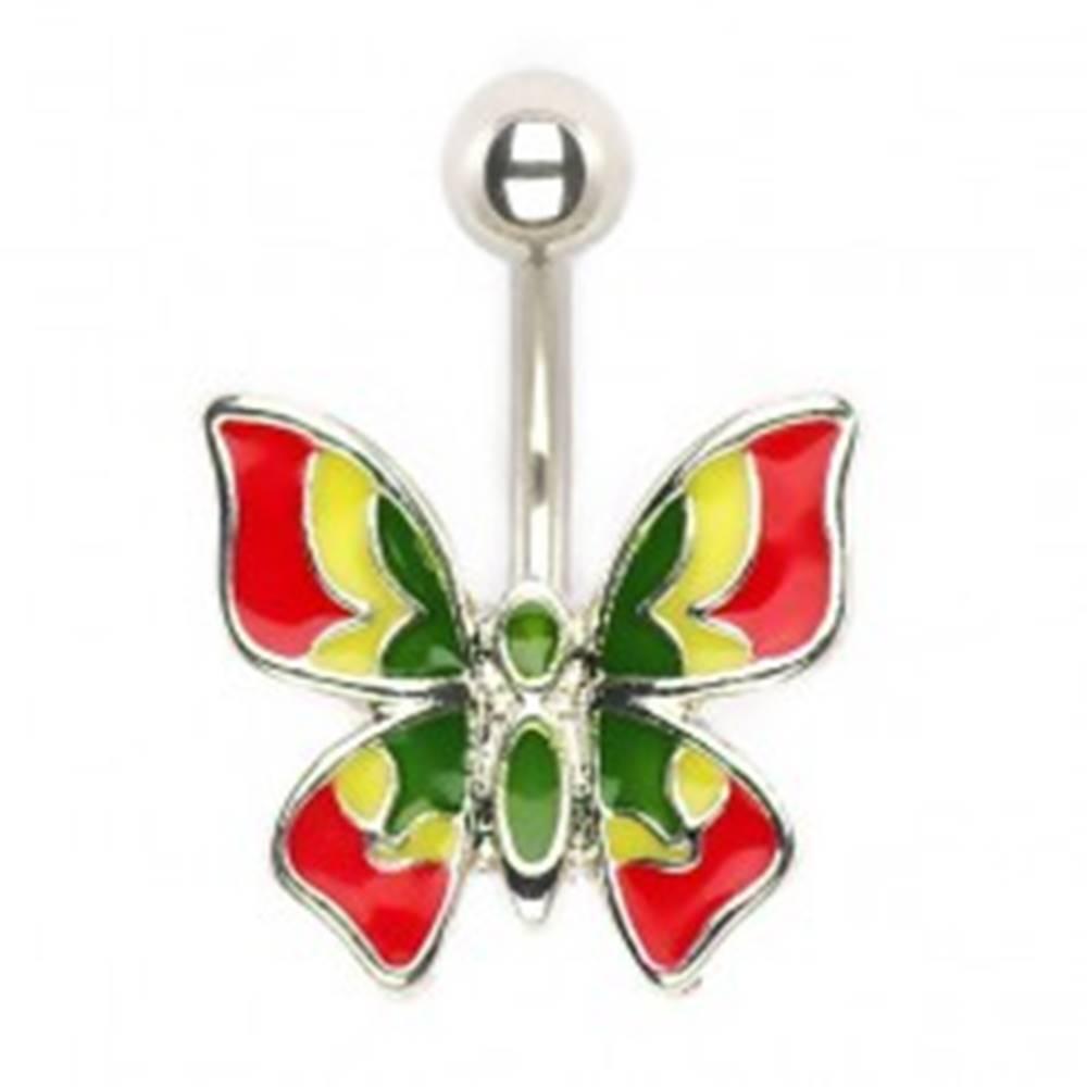 Šperky eshop Piercing do pupku - viacfarebný motýlik