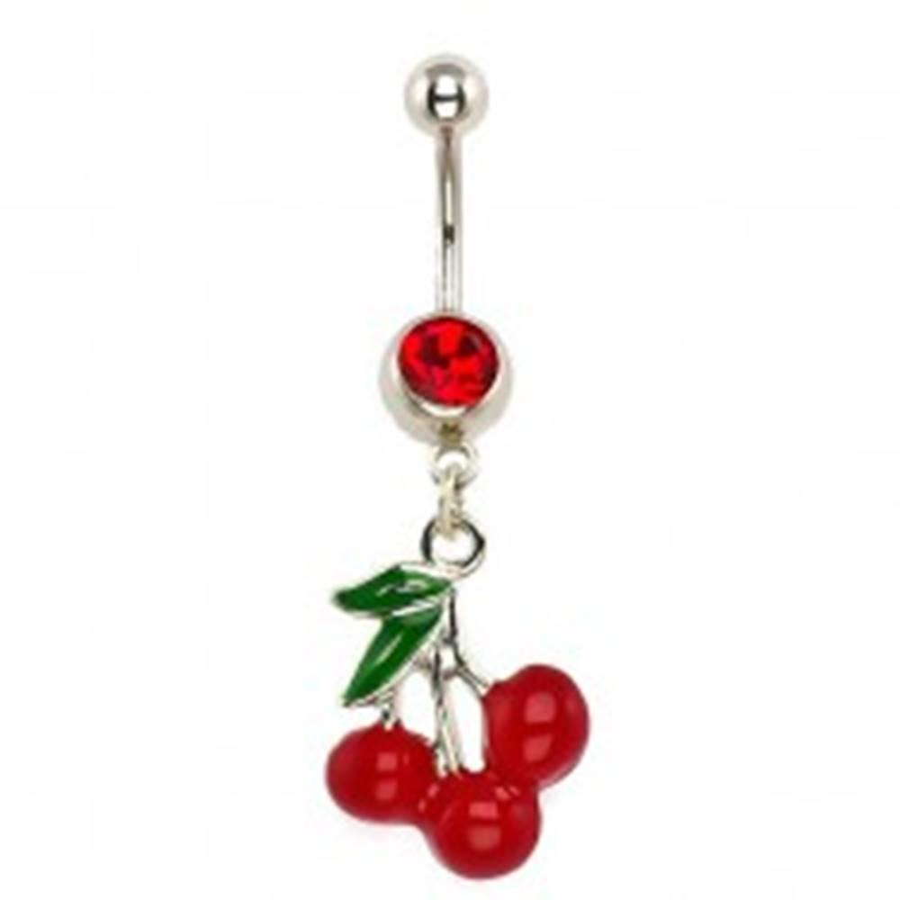 Šperky eshop Piercing z ocele do brucha - tri čerešne, červený zirkón