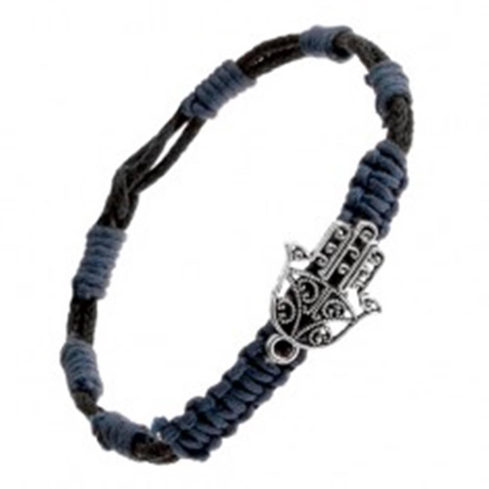 Šperky eshop Pletený náramok - modročierne motúziky, prívesok vyrezávaná budhistická ruka