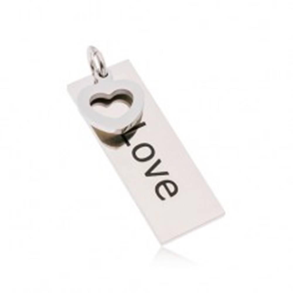 Šperky eshop Prívesok z ocele 316L striebornej farby, obdĺžnik s nápisom Love, srdiečko