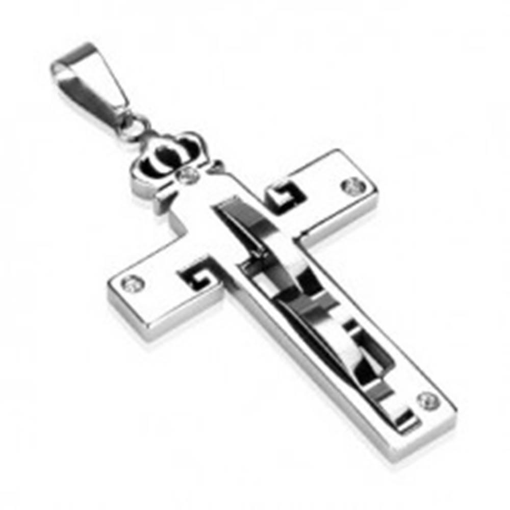 Šperky eshop Prívesok z ocele - kríž a koruna, zirkóny