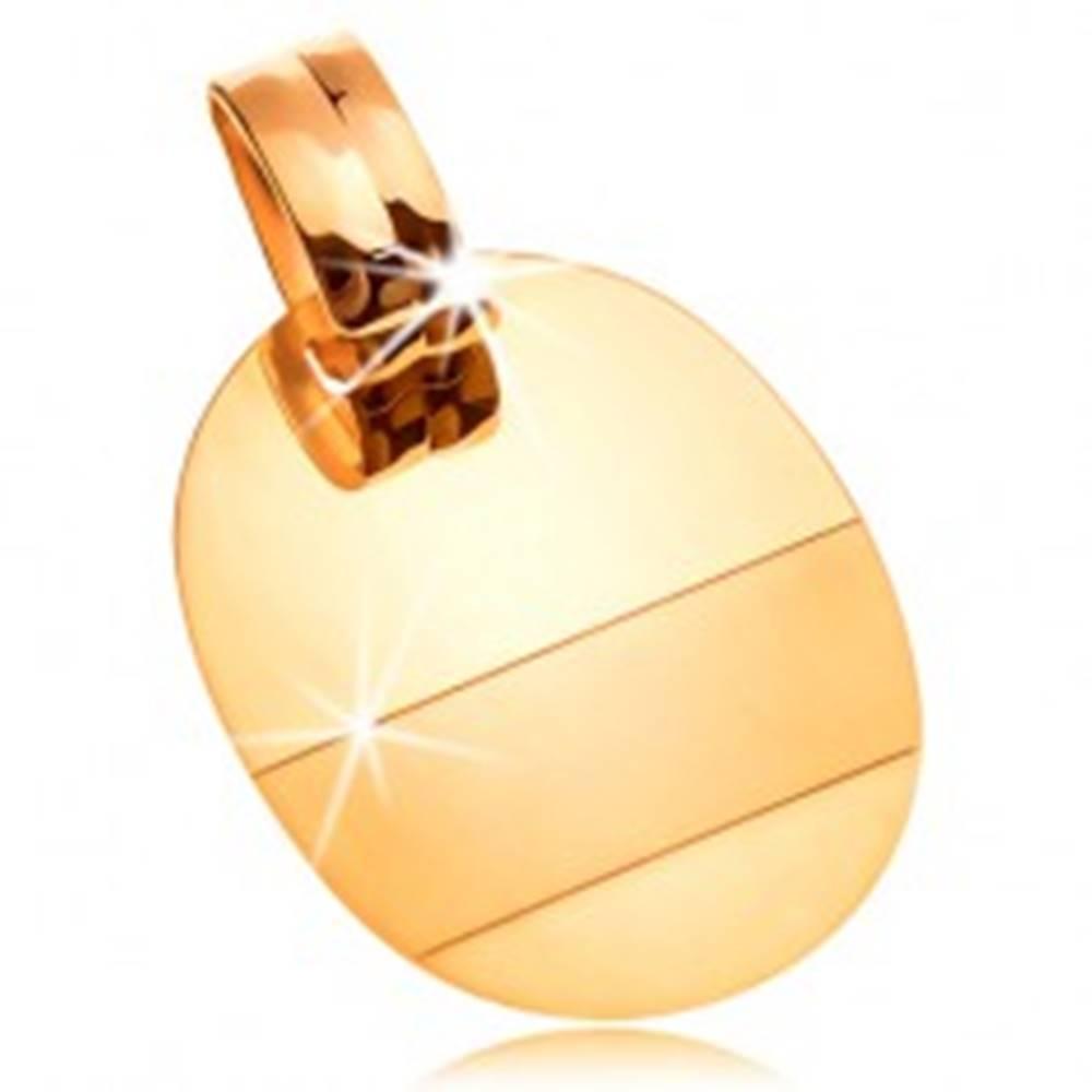 Šperky eshop Prívesok zo 14K zlata - lesklá oválna známka s matným pásikom