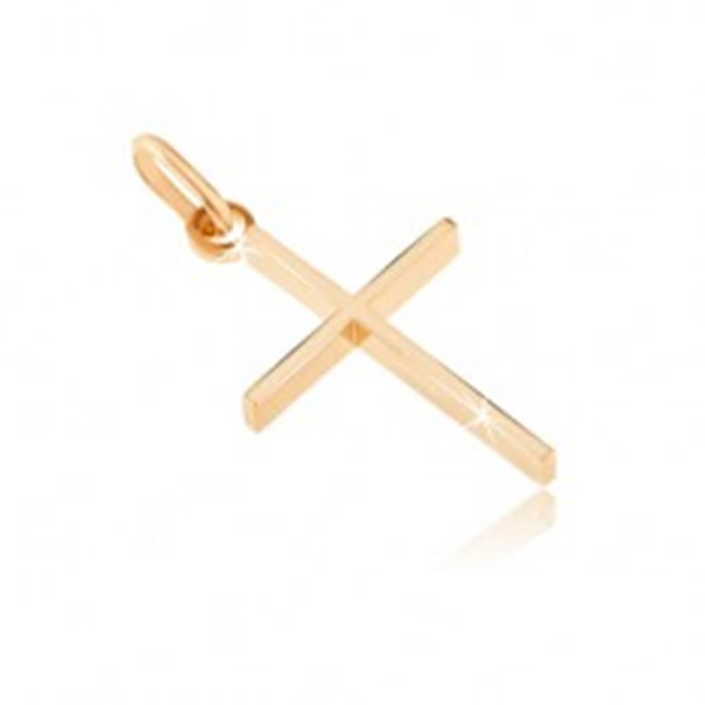 Šperky eshop Prívesok zo zlata 14K - tenký krížik s vysokými bočnými stranami