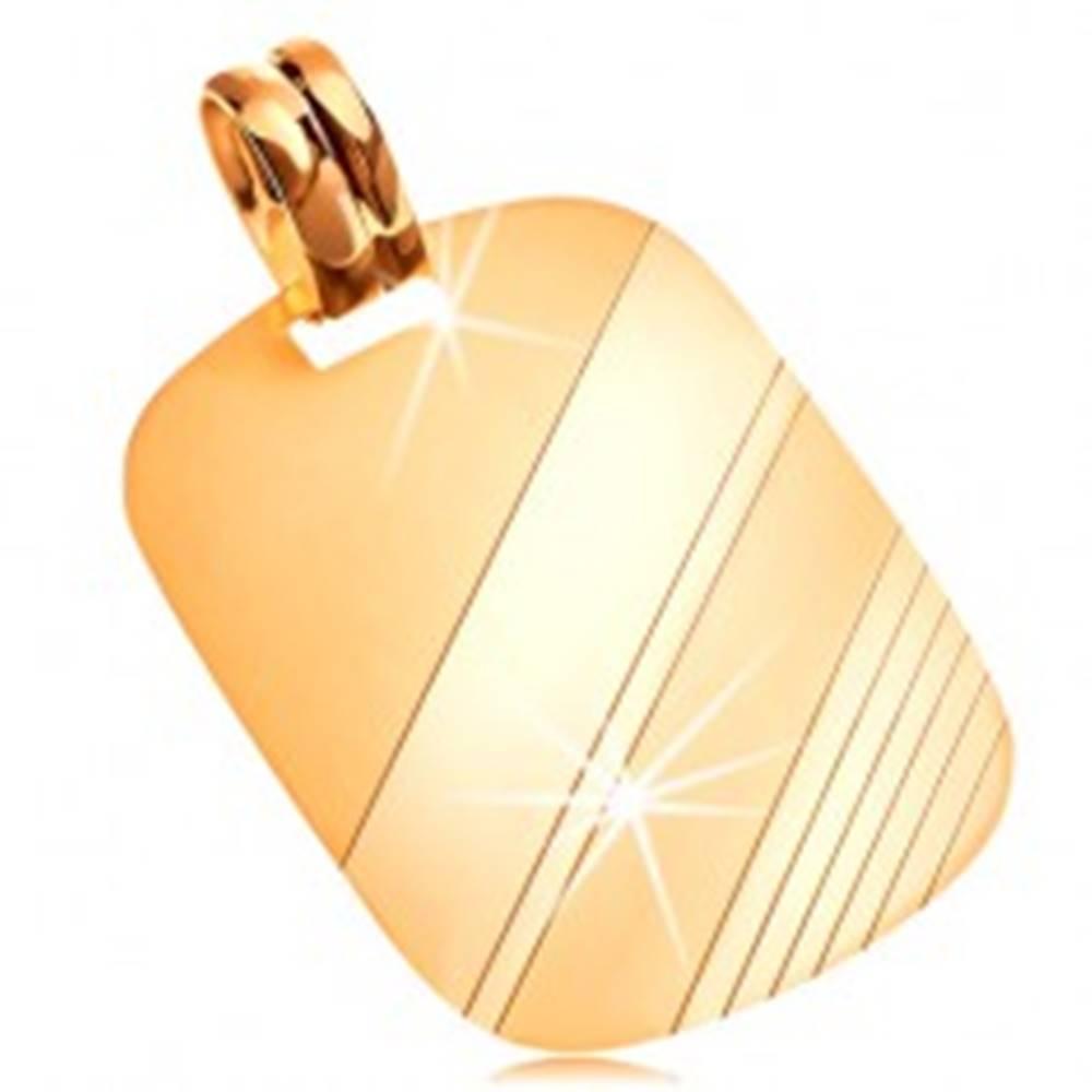 Šperky eshop Prívesok zo žltého 14K zlata - obdĺžniková známka s lesklými a matnými pásmi