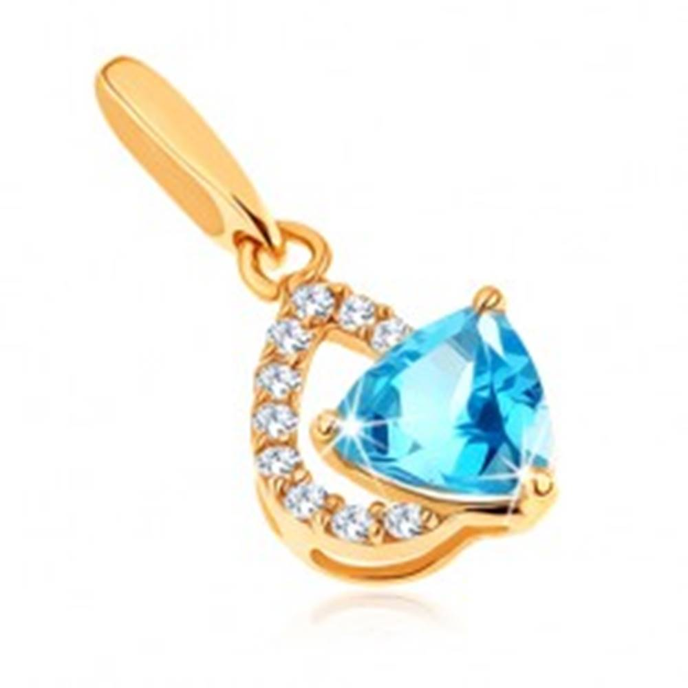 Šperky eshop Prívesok zo žltého 9K zlata - číra zirkónová kontúra kvapky, modrý topás