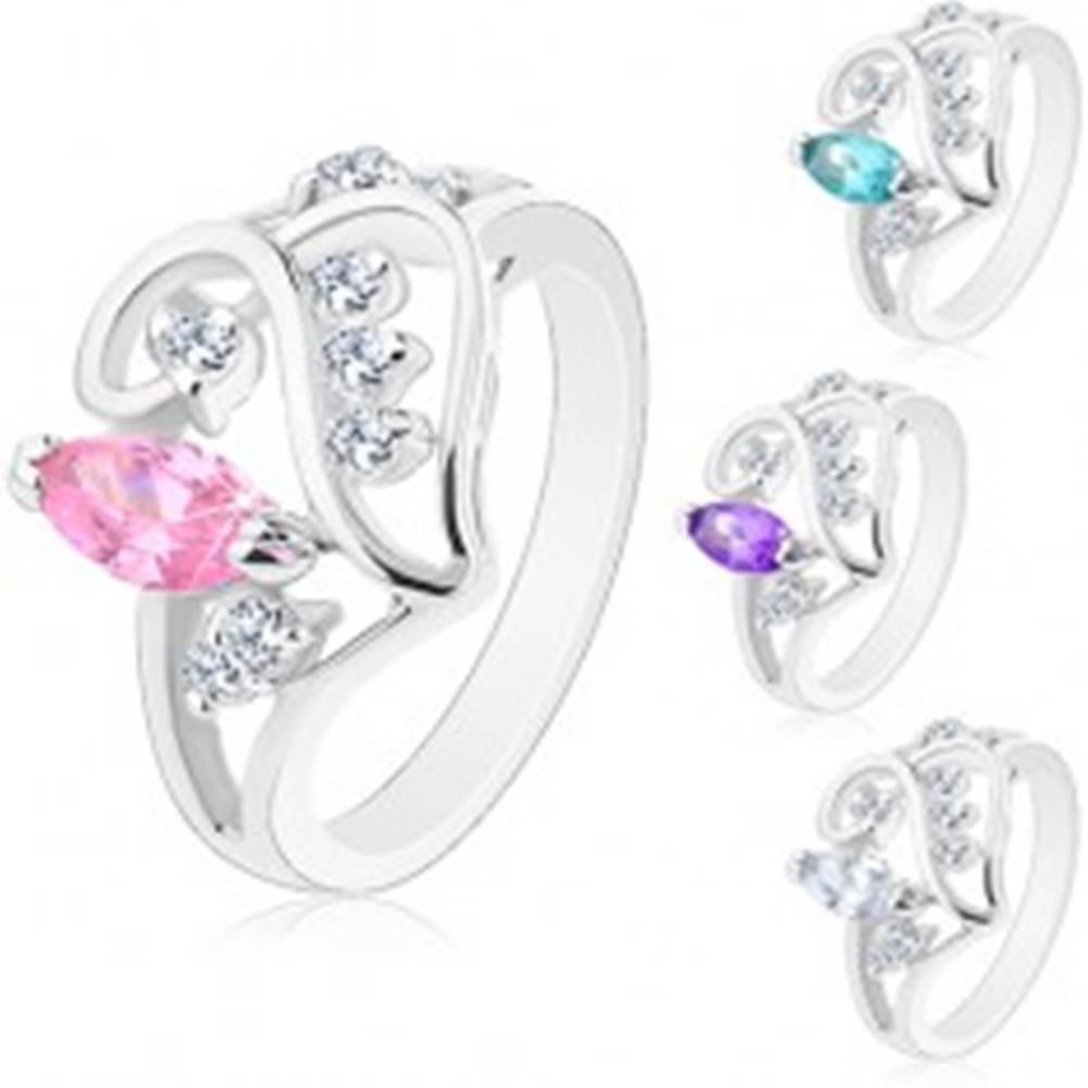 Šperky eshop Prsteň s rozdelenými ramenami, ornament so zrnkom a čírymi zirkónikmi - Veľkosť: 49 mm, Farba: Ružová