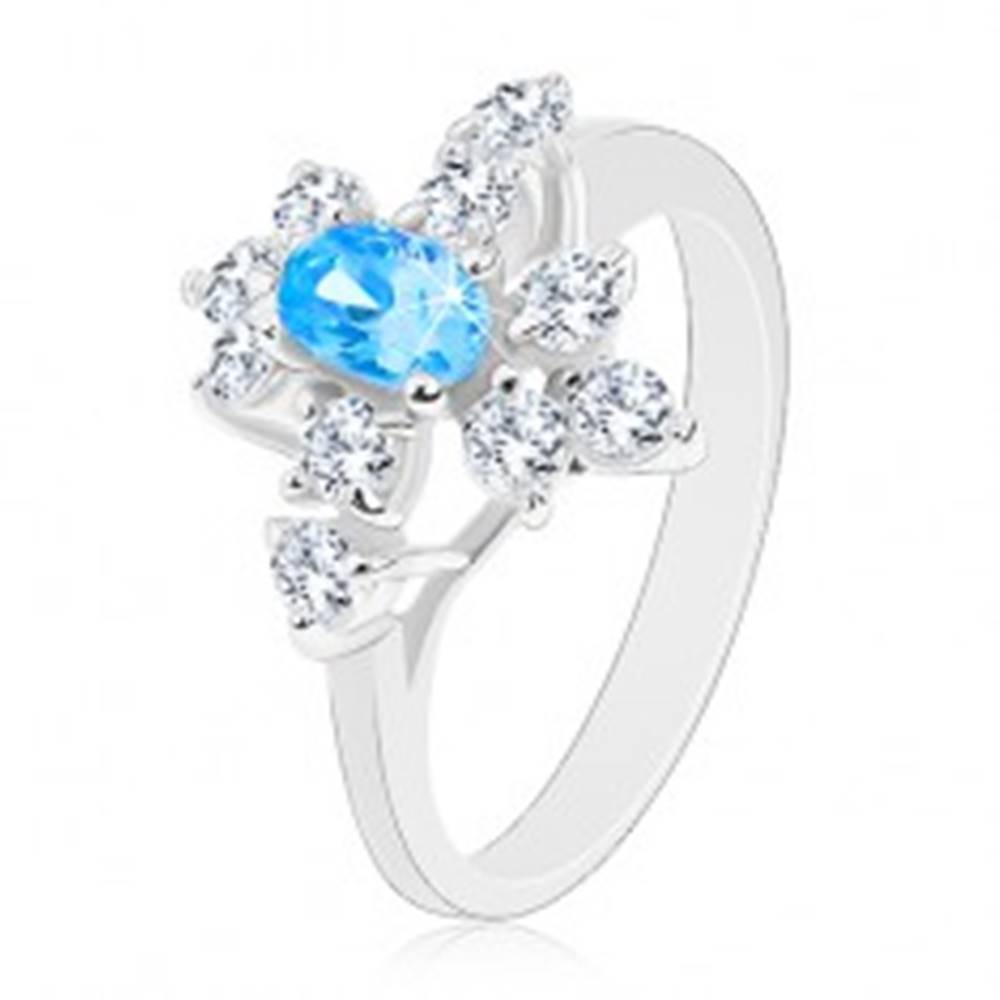 Šperky eshop Prsteň so zirkónom v akvamarínovej farbe, zúžené ramená, číre zirkóny - Veľkosť: 59 mm