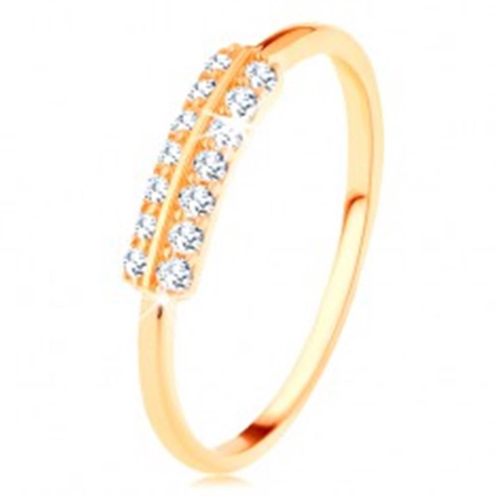 Šperky eshop Prsteň v žltom 14K zlate - vodorovné zirkónové línie oddelené lesklým pásikom - Veľkosť: 49 mm