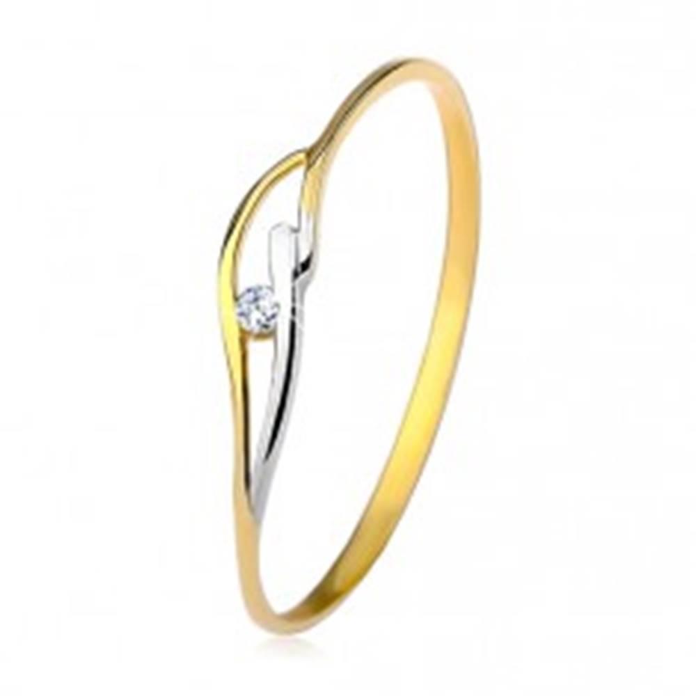 Šperky eshop Prsteň v žltom a bielom 14K zlate, úzke ramená, vlnky a zirkón čírej farby - Veľkosť: 50 mm