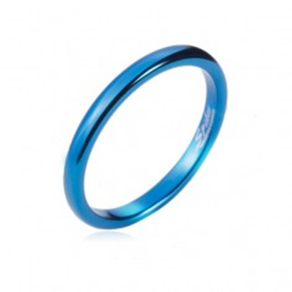 Šperky eshop Prsteň z tungstenu - hladká modrá obrúčka, zaoblená, 2 mm - Veľkosť: 47 mm