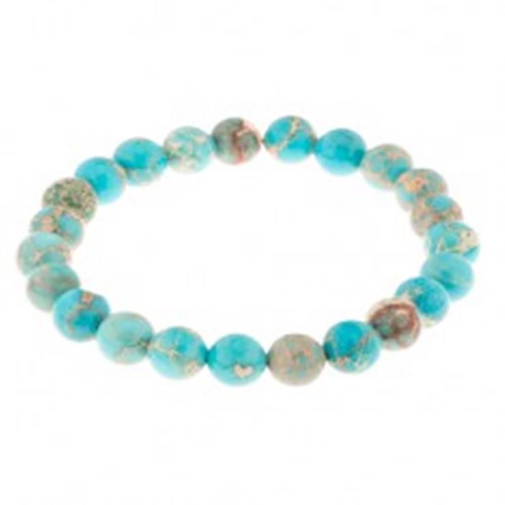 Šperky eshop Pružný náramok, guličky zo svetlomodrého jaspisu, nepravidelný vzor