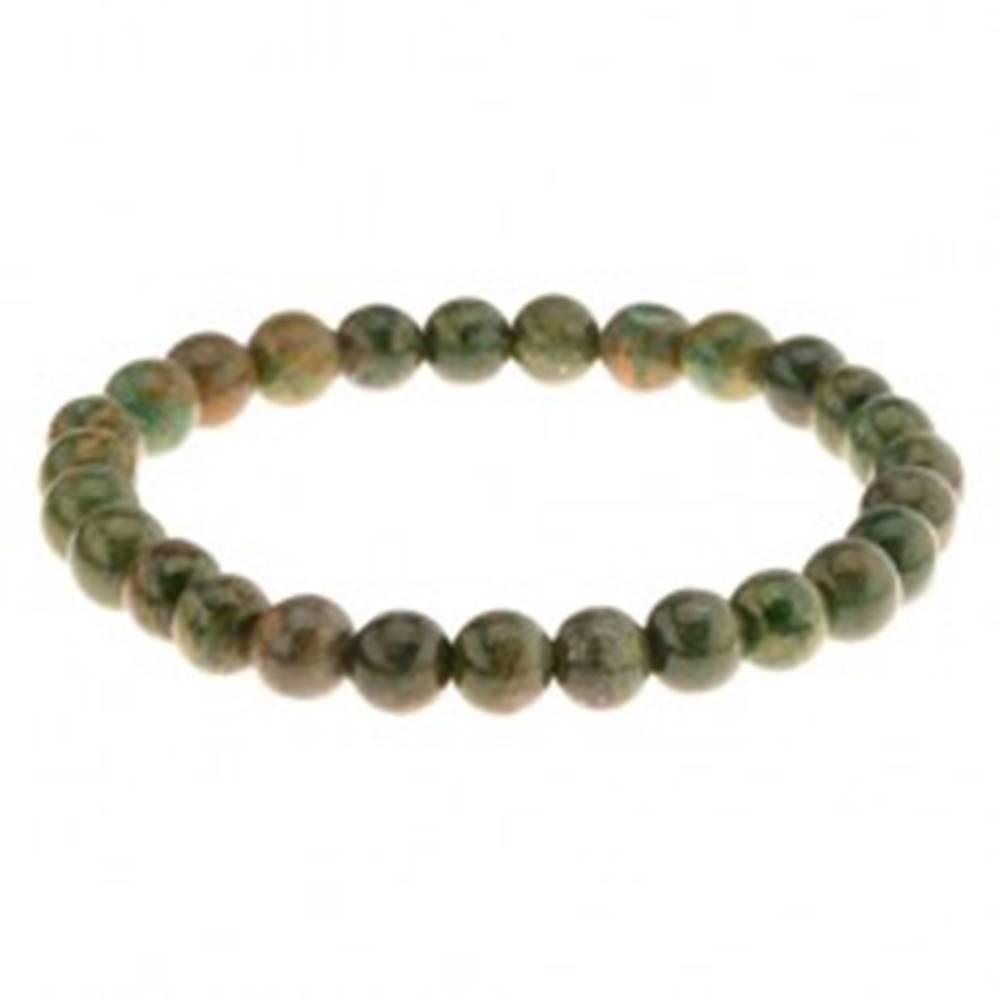 Šperky eshop Pružný náramok na ruku, korálky v zelených odtieňoch, gumička