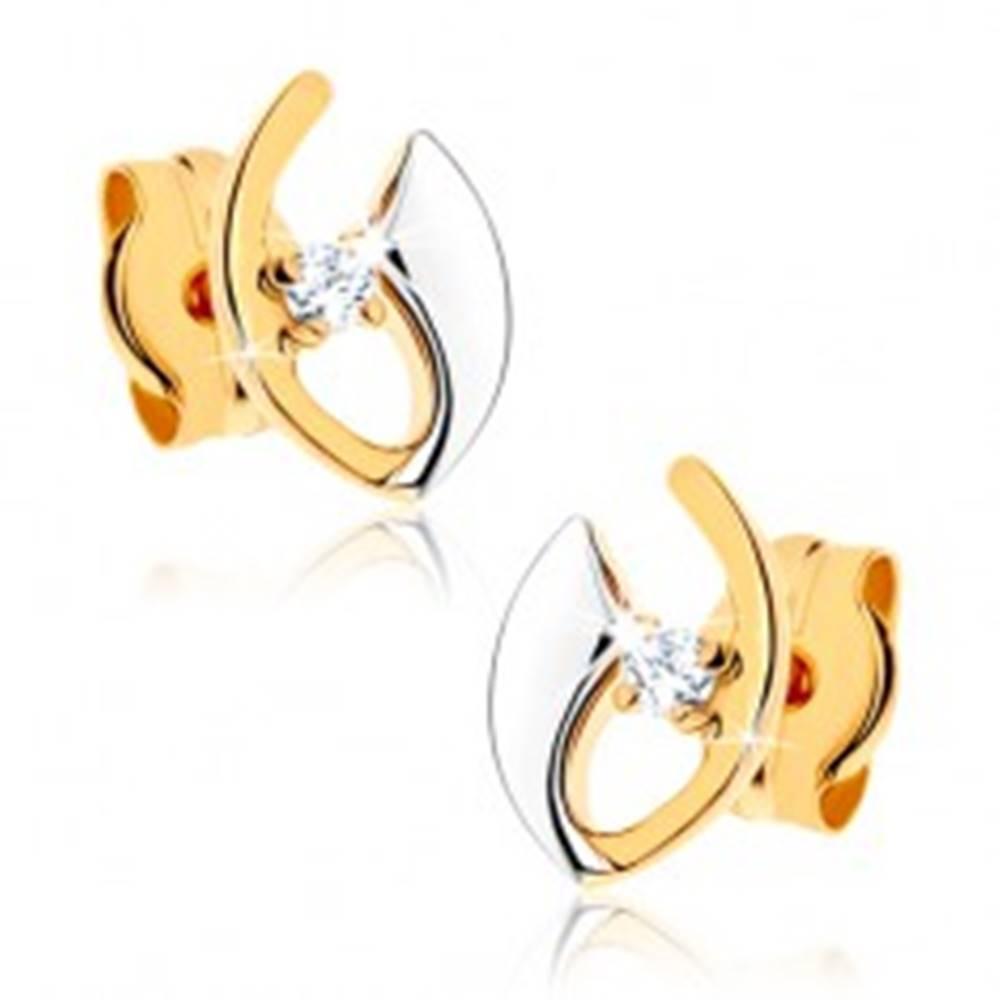 Šperky eshop Puzetové náušnice z 9K zlata - zahnuté línie, zirkónik čírej farby, ródiované