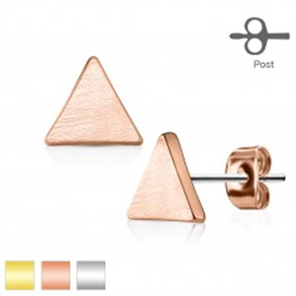 Šperky eshop Puzetové náušnice z ocele 316L, plochý trojuholník, matný hladký povrch - Farba: Medená