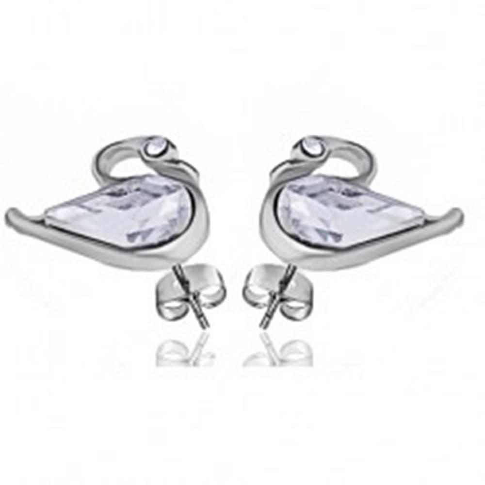 Šperky eshop Ródiované lesklé náušnice v tvare labute - číre zirkóny