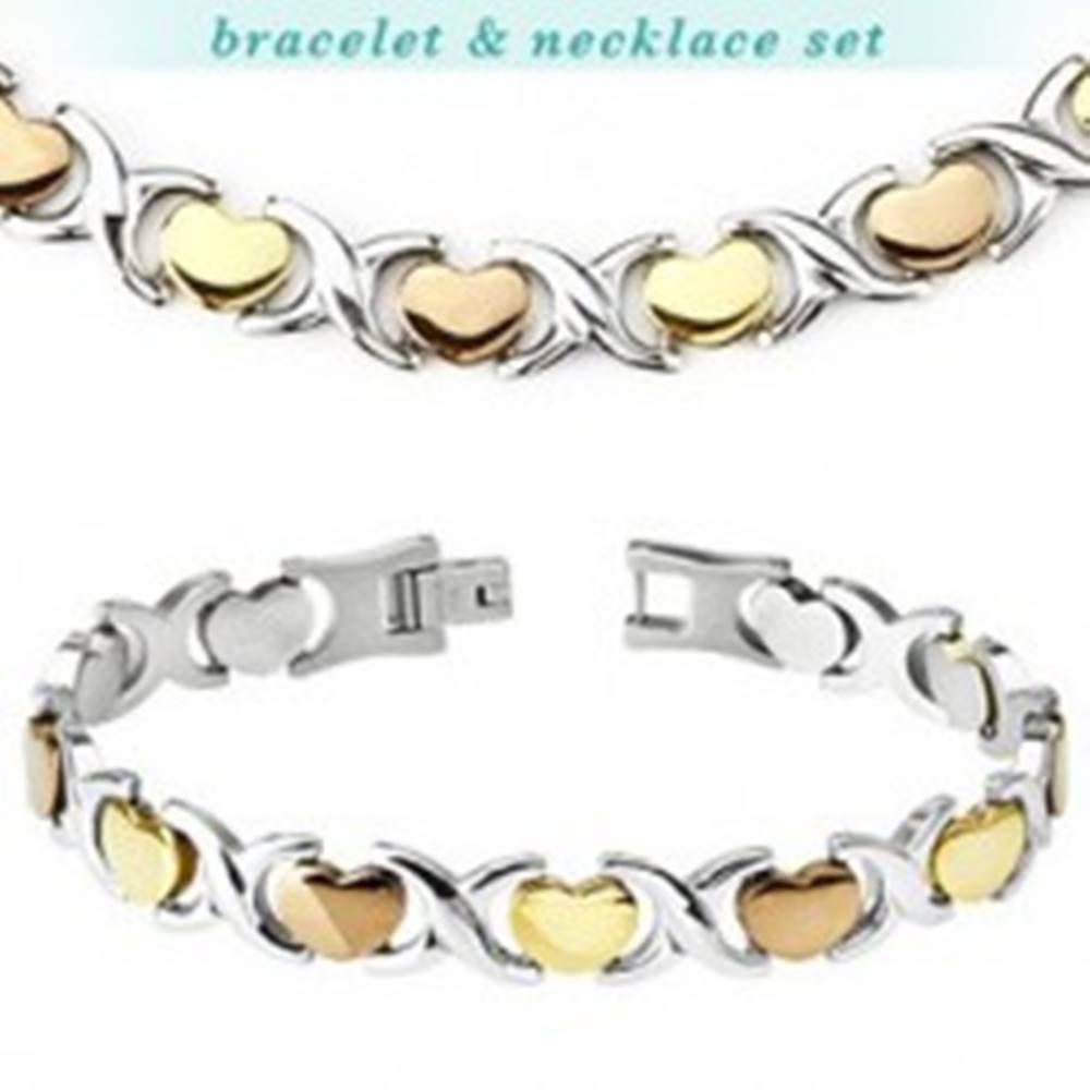 Šperky eshop SET oceľový náramok a retiazka - srdiečko, články X