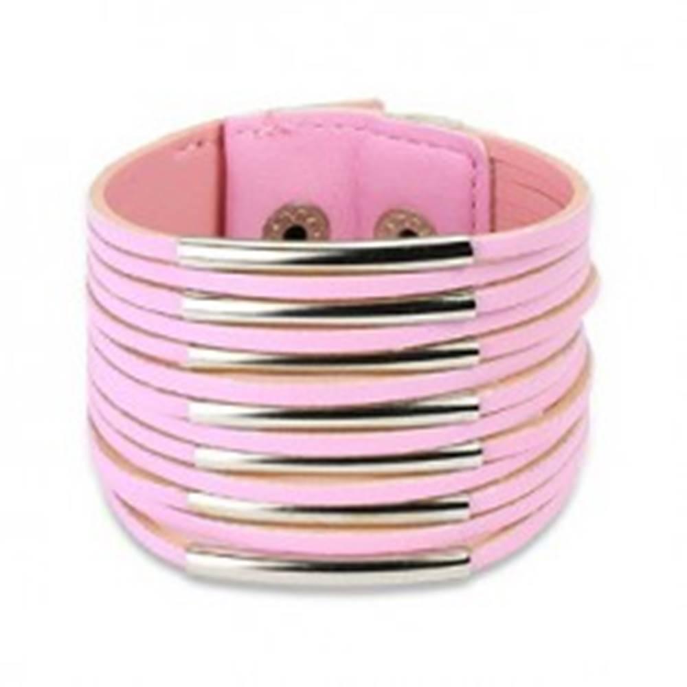 Šperky eshop Široký koženkový náramok - tenké pásiky - Farba: Biela