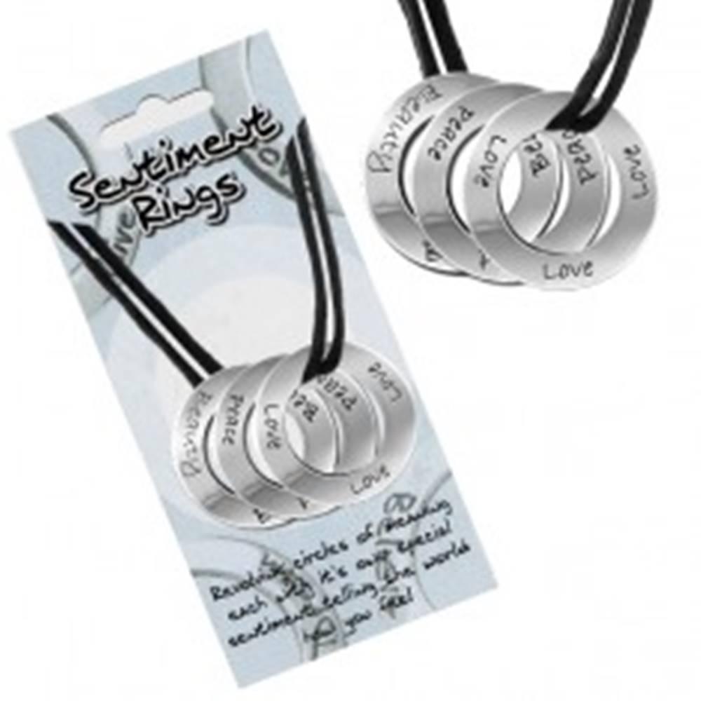 """Šperky eshop Šnúrkový náhrdelník - kolieska s nápismi """"Love, Peace, Beauty"""""""
