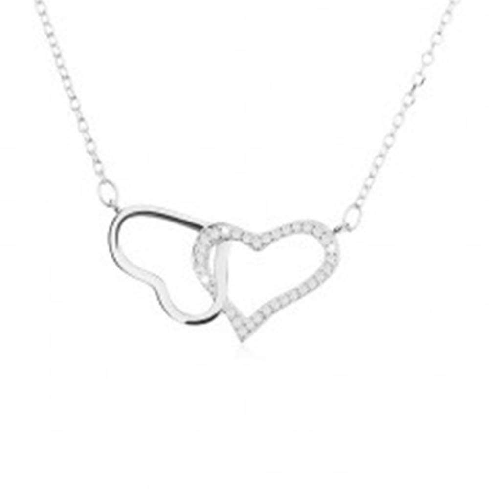 Šperky eshop Strieborný náhrdelník 925, dve kontúry - lesklého a zirkónového srdca
