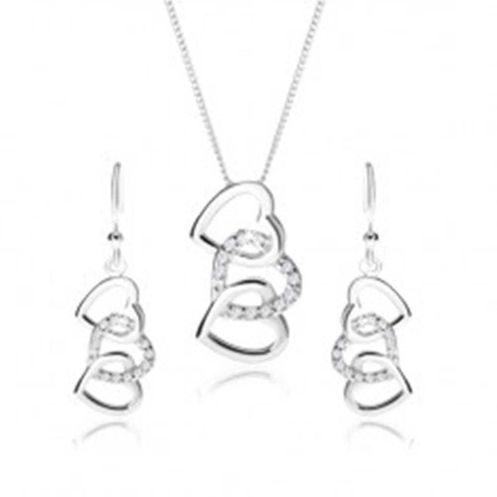 Šperky eshop Strieborný set 925, náušnice a náhrdelník - siluety troch prepojených sŕdc, číre zirkóny