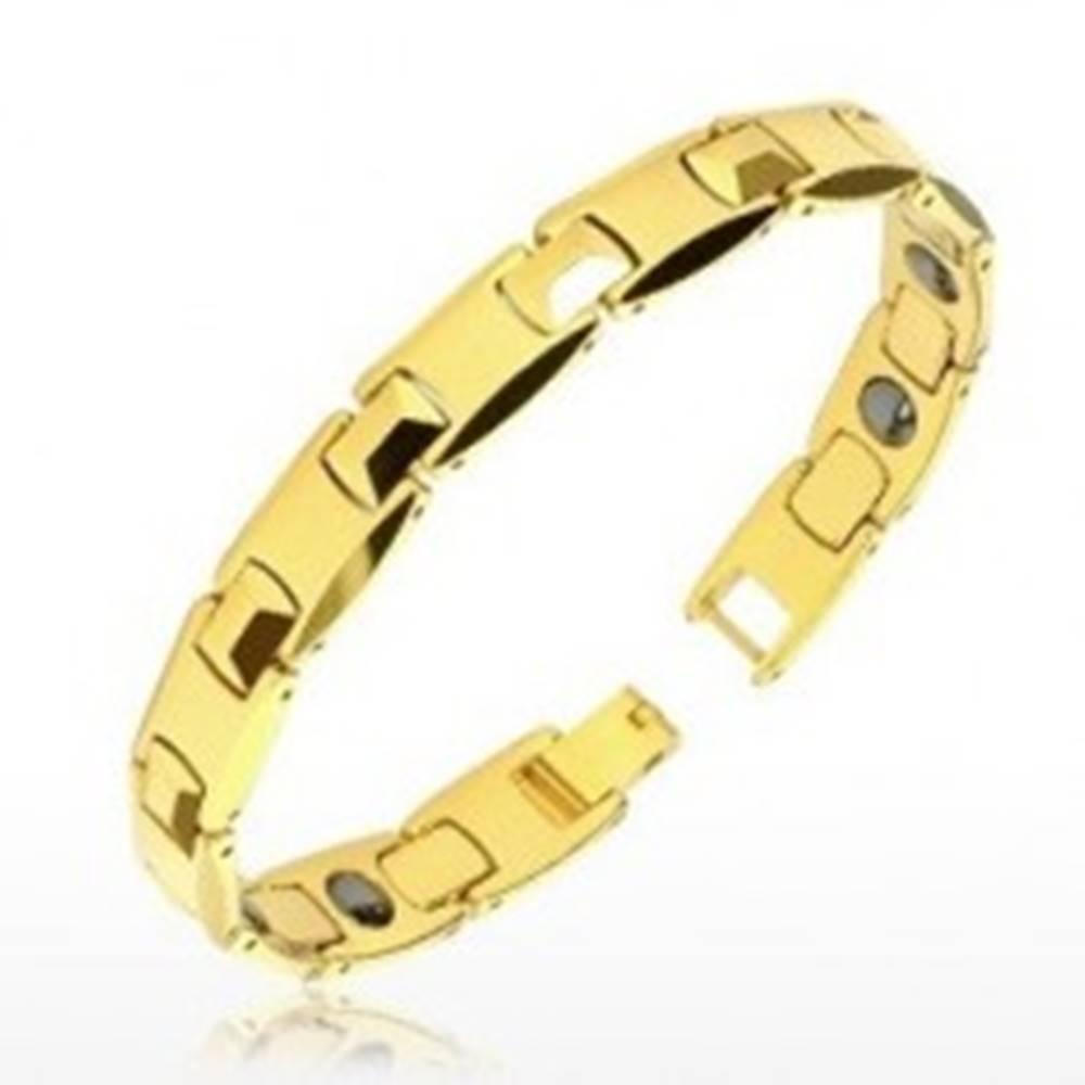 """Šperky eshop Tungstenový náramok zlatej farby - lesklé """"H"""" články, pyramídky, magnetické guličky"""