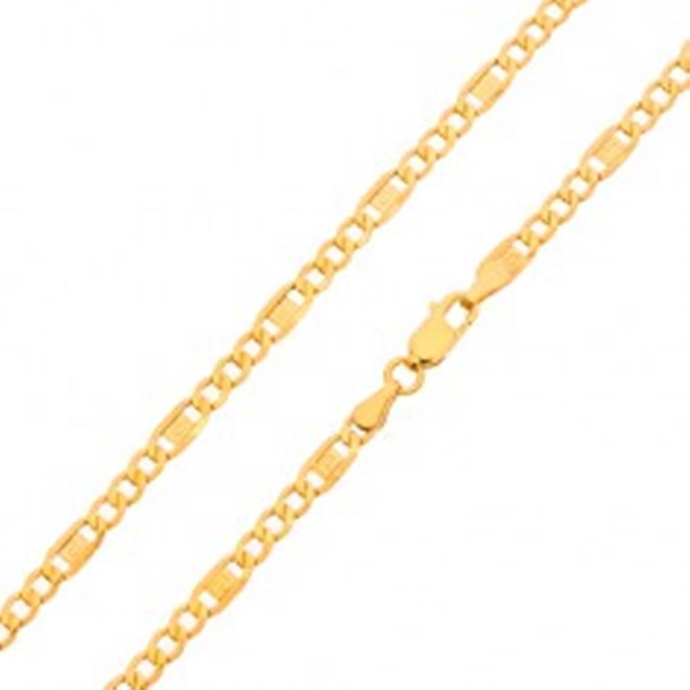 Šperky eshop Zlatá retiazka 585 - tri oválne očká, článok s gréckym kľúčom, 450 mm