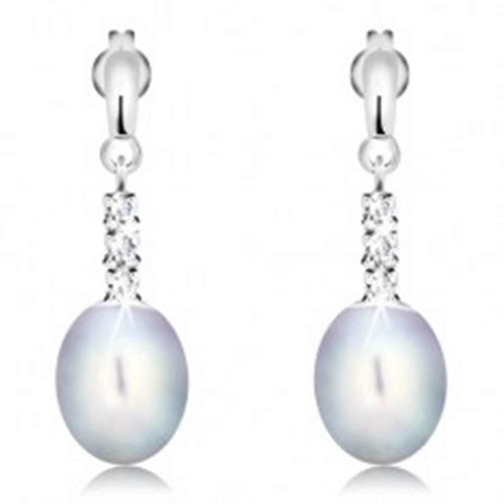 Šperky eshop Zlaté 14K náušnice - lesklý pásik, tri číre zirkóny a sivá oválna perla