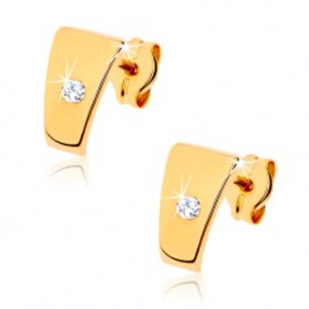 Šperky eshop Zlaté náušnice 375 - lesklé lichobežníky s čírym zirkónom uprostred