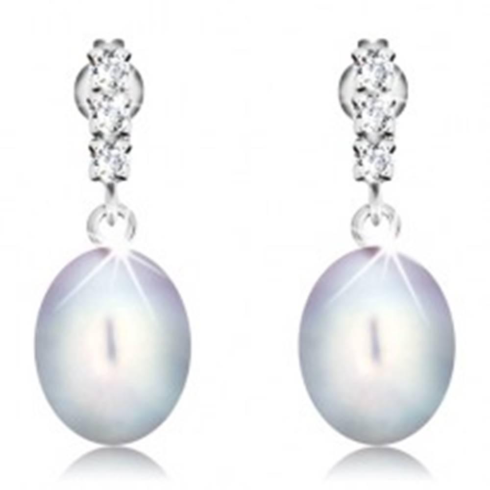 Šperky eshop Zlaté náušnice 585 - tri číre zirkóny, veľká oválna perla sivej farby