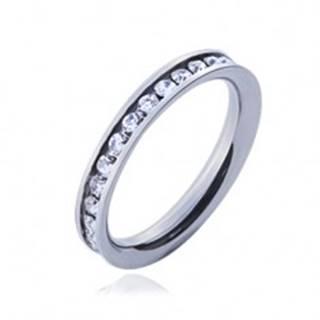 Prsteň z chirurgickej ocele s čírymi okrúhlymi zirkónmi - Veľkosť: 47 mm