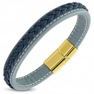 Modrosivý koženkový náramok, tmavomodrý pletenec, magnetické zapínanie