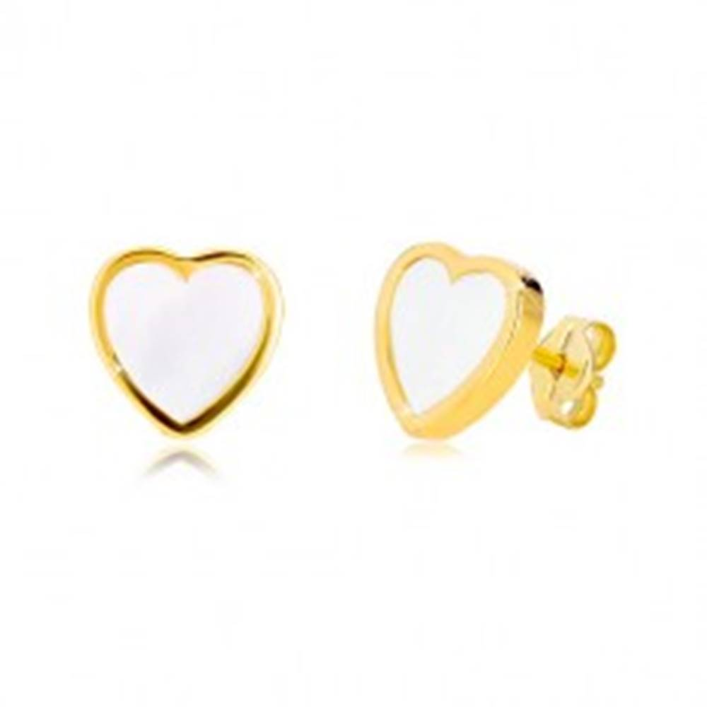 Šperky eshop Náušnice zo žltého 14K zlata - kontúra symetrického srdca s prírodnou perleťou